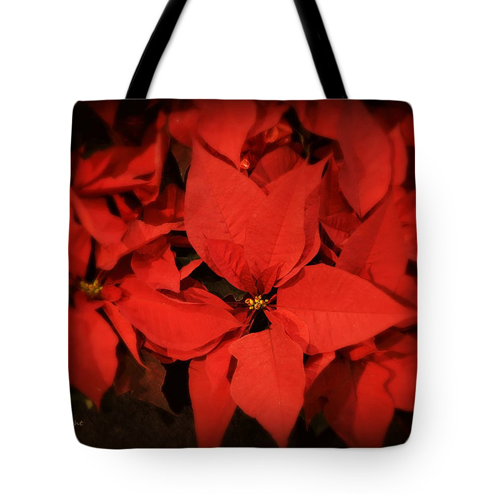 Art Tote Bag featuring the photograph Christmas Poinsettias by Paulette B Wright