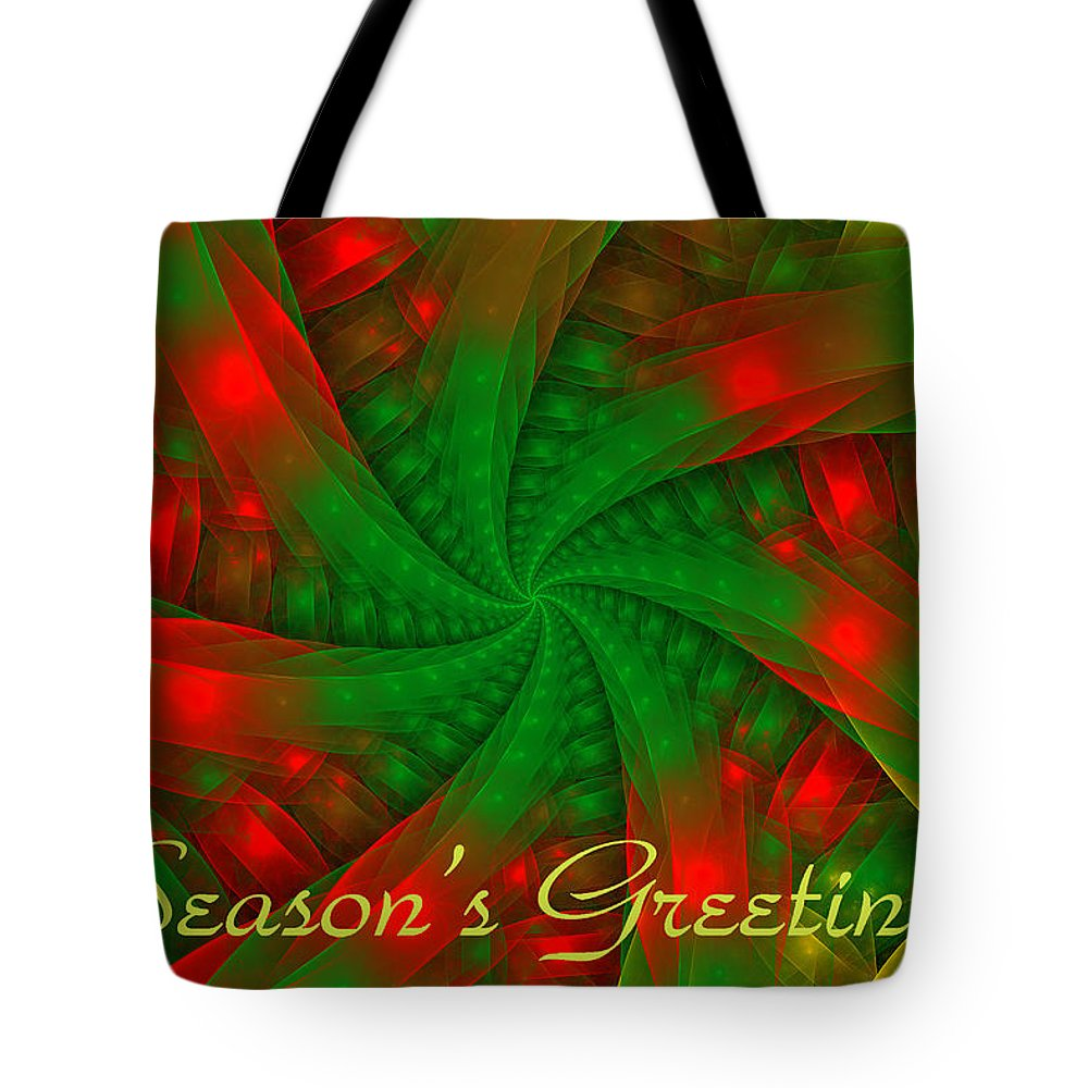Holiday Card Tote Bag featuring the digital art Christmas Ribbons by Sandy Keeton