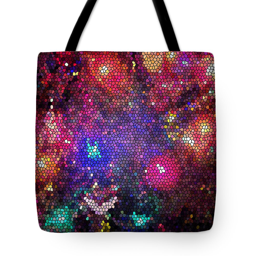 Christmas Tote Bag featuring the photograph Christmas Stained Glass by Nancy Mueller
