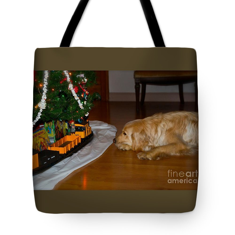Christmas Cards Tote Bag featuring the photograph Christmas Train by Frank J Casella