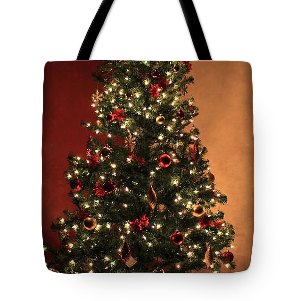 Red Tote Bag featuring the photograph Red And Gold Christmas Tree Without Caption by Jennifer E Doll