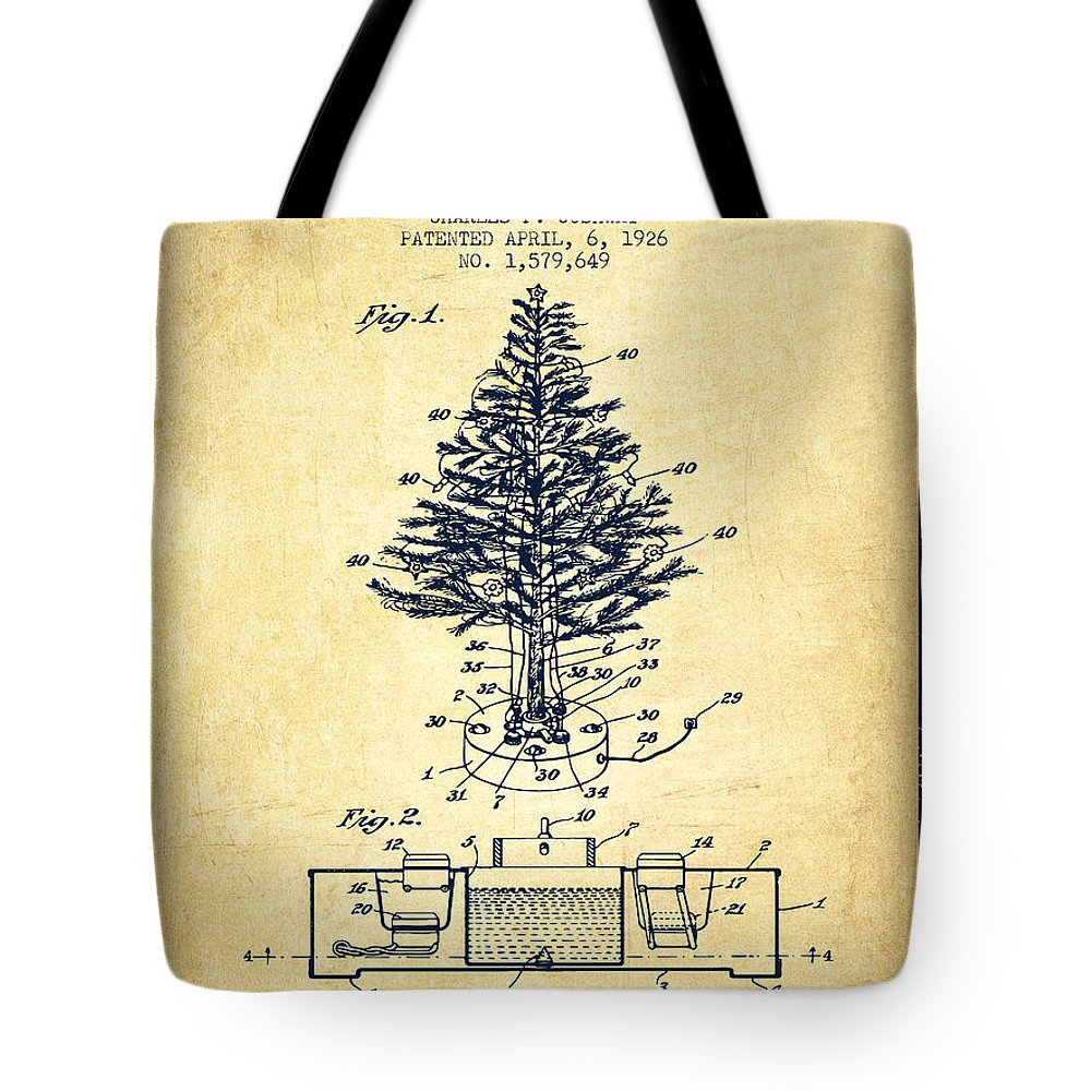 christmas tote bag featuring the digital art christmas tree lighting patent from 1926 vintage by