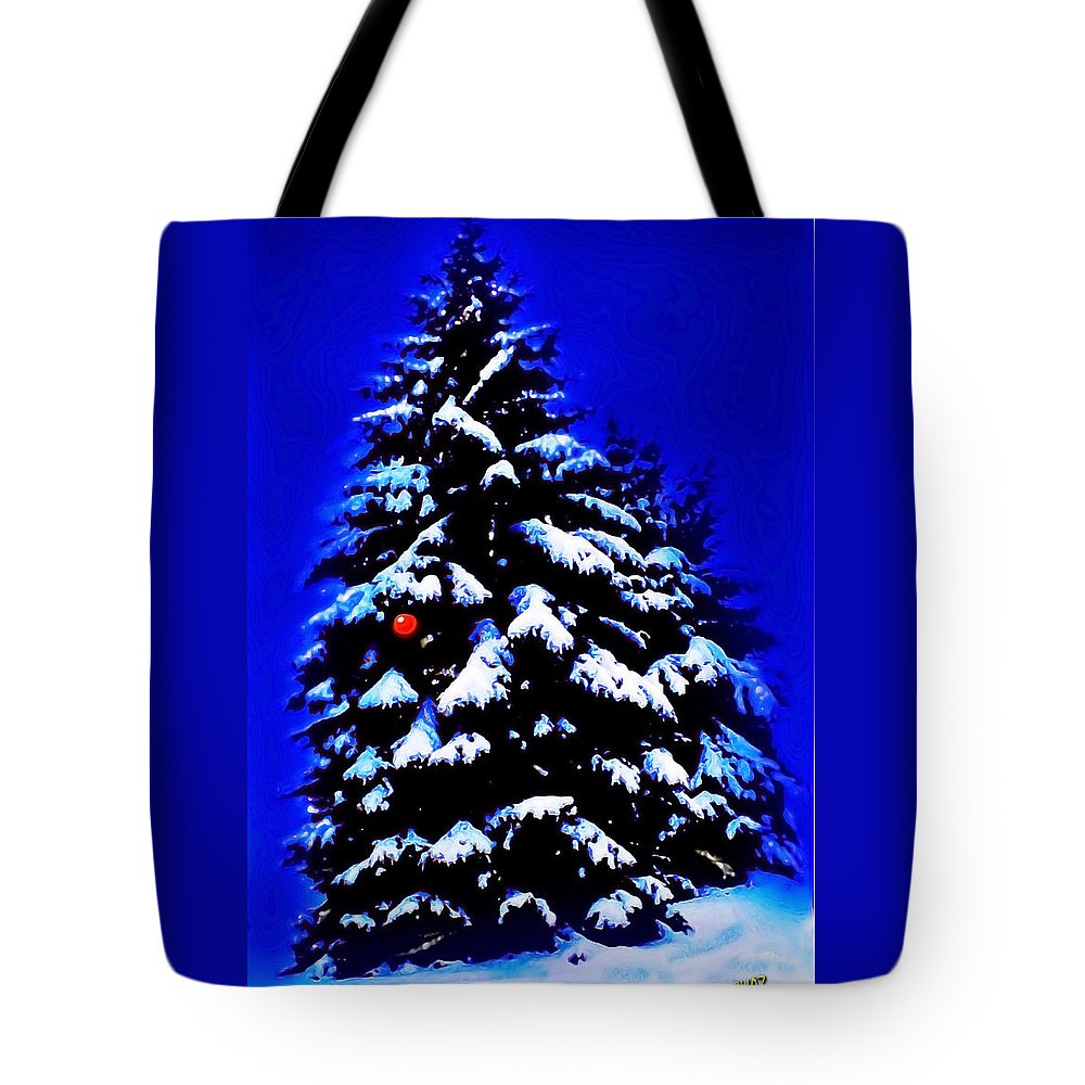 Christmas Tote Bag featuring the painting Christmas Tree With Red Ball by CHAZ Daugherty