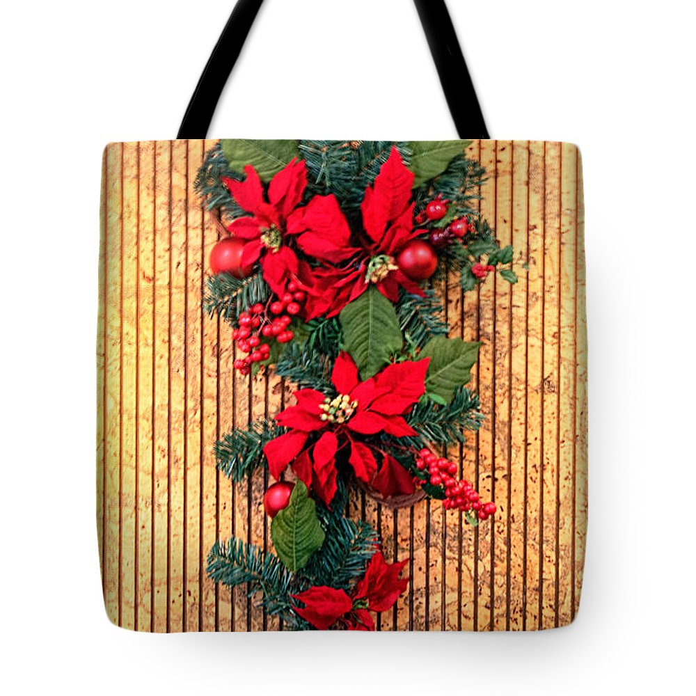 Holiday Tote Bag featuring the photograph Christmas Wall Hanging by Linda Phelps