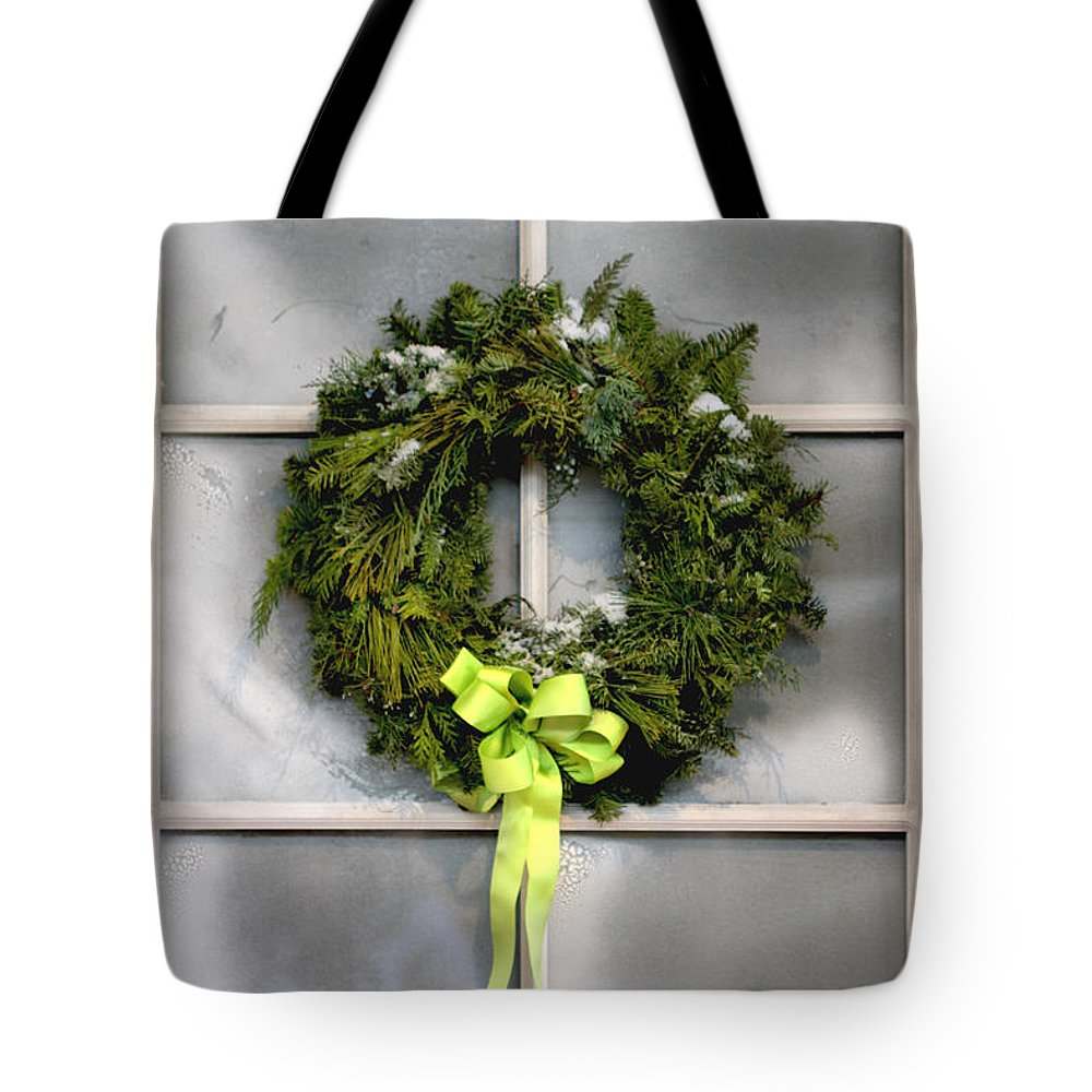 Window; Frost; Windowpane; Frosted; Wreath; Christmas; Red; Flowers; Country; House; Wooden; Home; Glass; Green; Bow; Poinsettia Tote Bag featuring the photograph Christmas Windowpane by Margie Hurwich