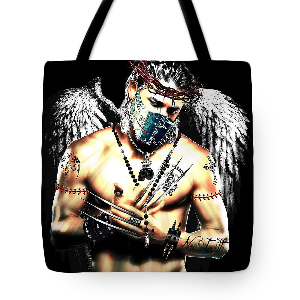 Christ Tote Bag featuring the digital art Christy Angel Mask by Jan Raphael