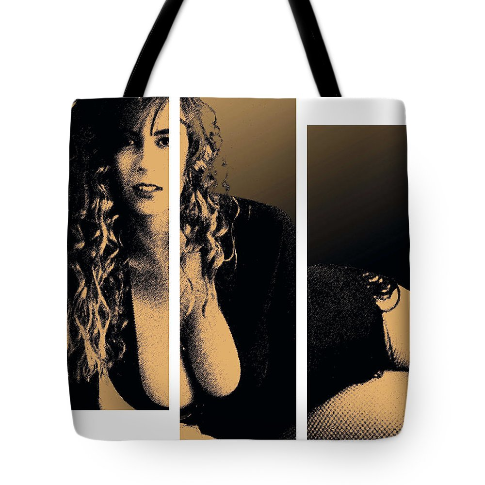 Pornstar Tote Bag featuring the digital art Christy Canyon In Copper by Dale Loos Jr