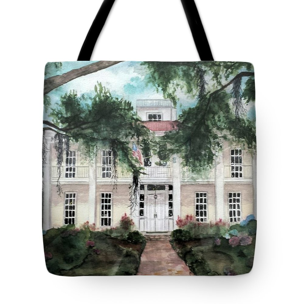 Southern Home Tote Bag featuring the painting Christy's Eden Gardens by Carol Lindquist