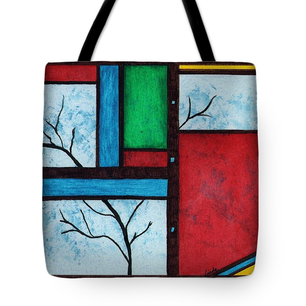 Abstract Tote Bag featuring the painting Chromatic Vision by Linda Wimberly