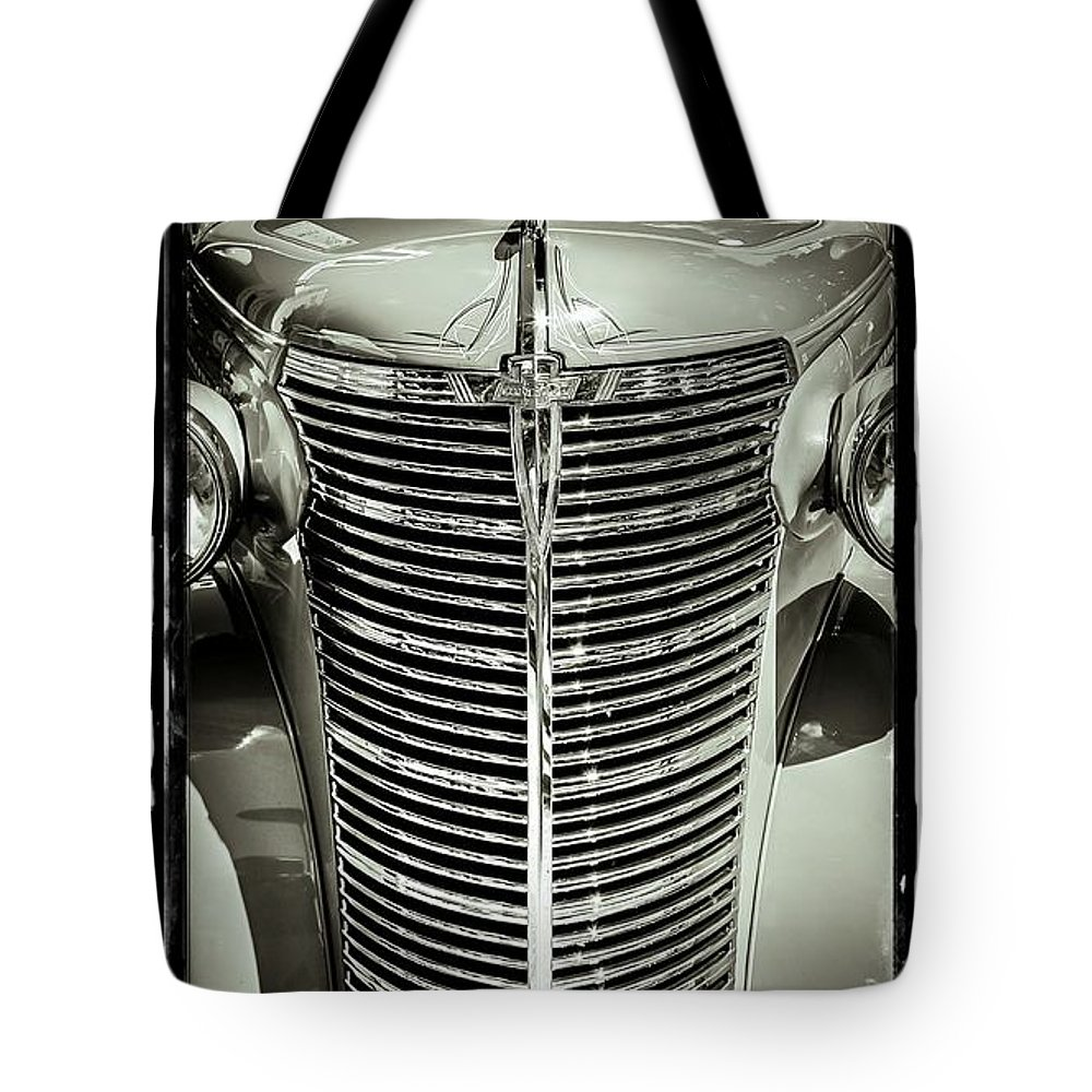 Car Tote Bag featuring the photograph Chrome Grill by Perry Webster