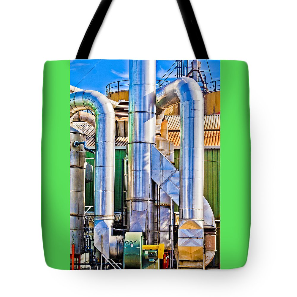 Industry Tote Bag featuring the photograph Chrome Industry by Pobby Heglar