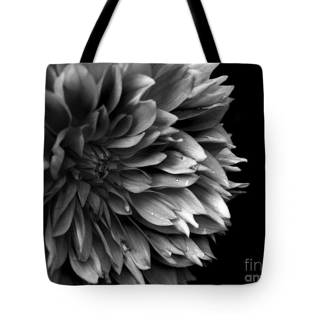 Black-and-white Tote Bag featuring the photograph Chrysanthemum In Black And White by Eena Bo