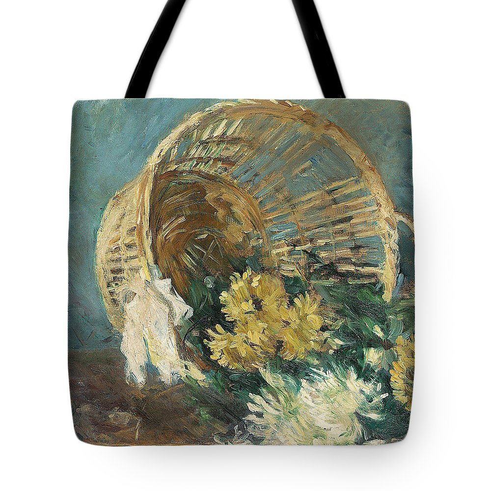 Chrysanthemum Tote Bag featuring the painting Chrysanthemums Or The Overturned Basket by Berthe Morisot