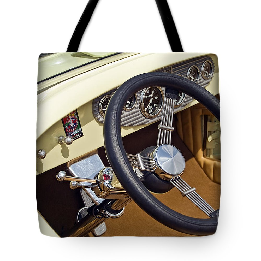 Classic Tote Bag featuring the photograph Chrysler Interior Steering Wheel Classic Car American Made by David Zanzinger