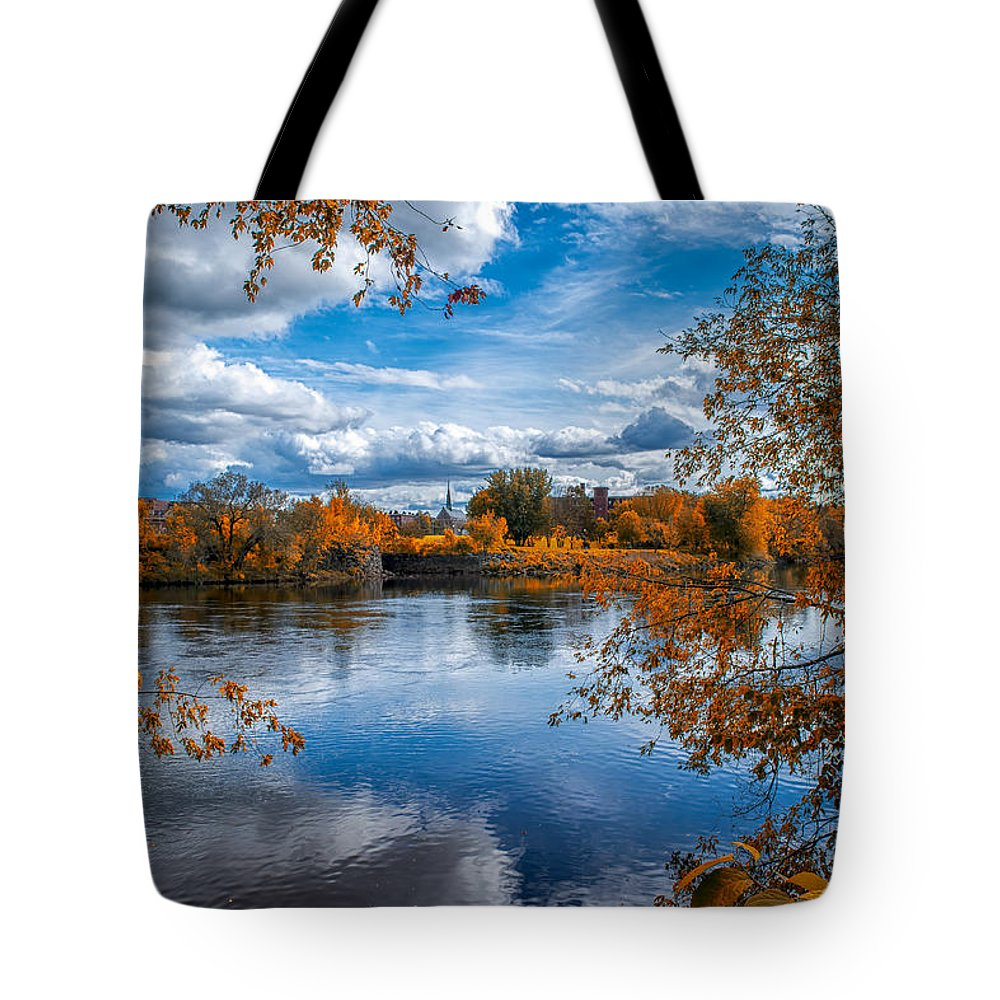 River Tote Bag featuring the photograph Church Across The River by Bob Orsillo
