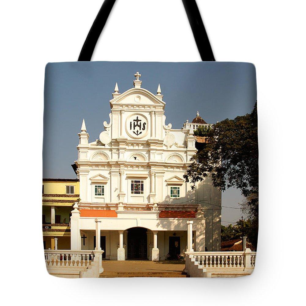 Church Tote Bag featuring the digital art Church At Colva by Carol Ailles