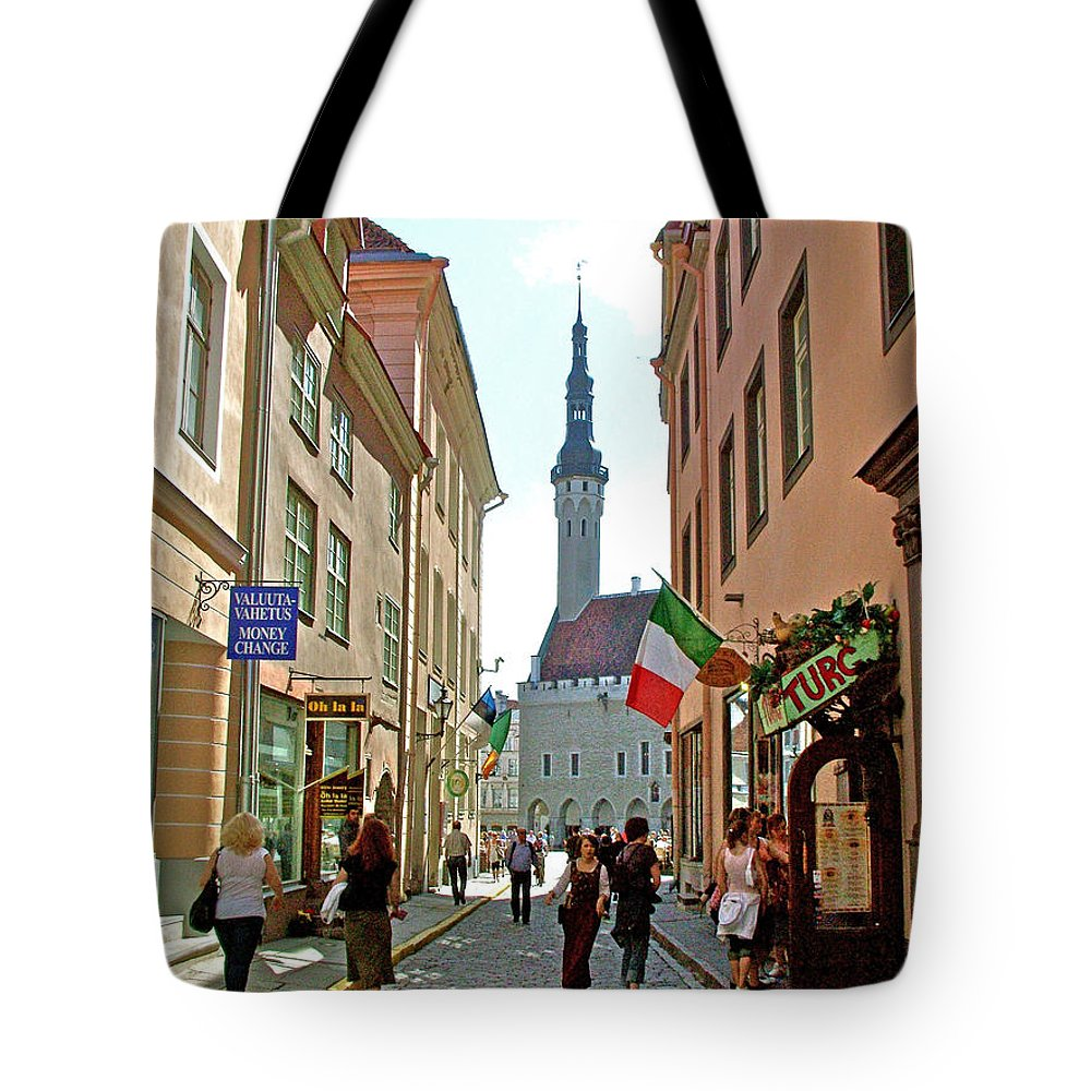 Church At End Of Street In Old Town Tallinn Tote Bag featuring the photograph Church At End Of Street In Old Town Tallinn-estonia by Ruth Hager
