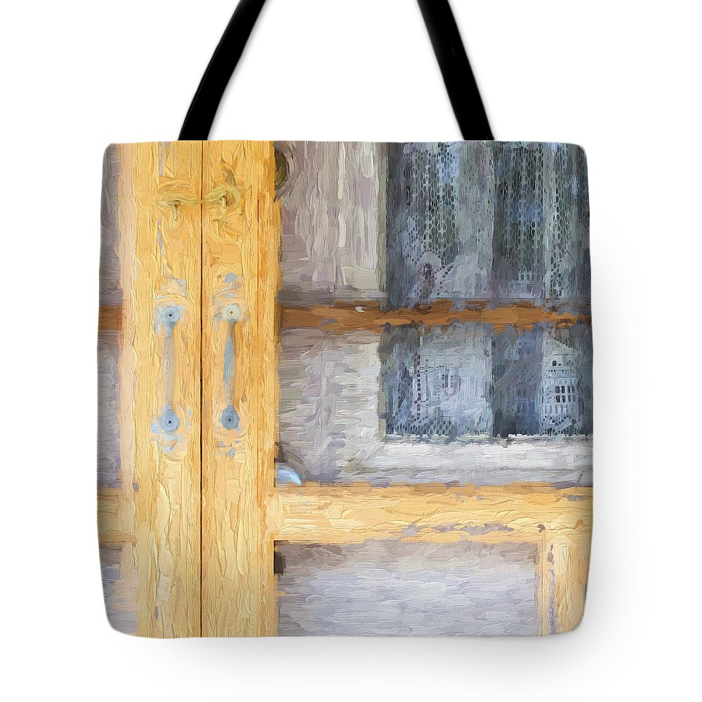 Curtains Tote Bag featuring the photograph Church Camp House Detail Painterly Series 14 by Carol Leigh