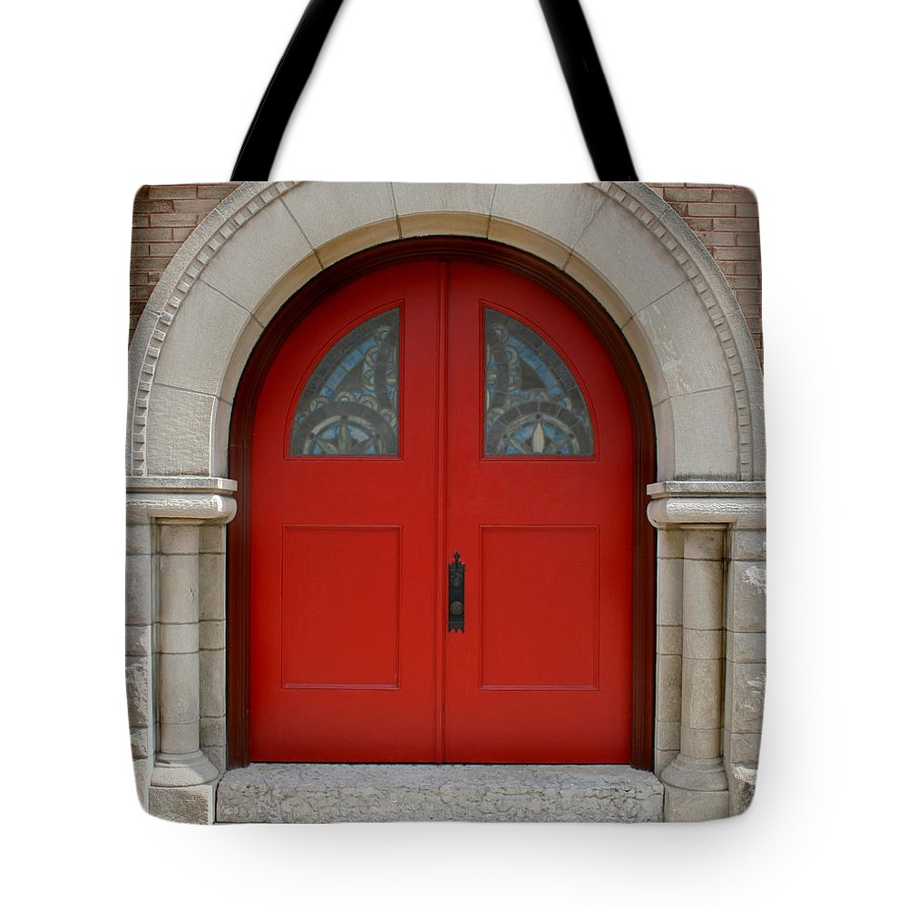 Architecture Tote Bag featuring the photograph Church Door by Karen Adams