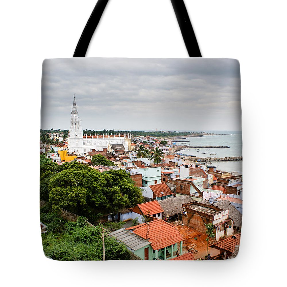 Indian Ocean Tote Bag featuring the photograph Church In Kanyakumari India by Helix Games Photography