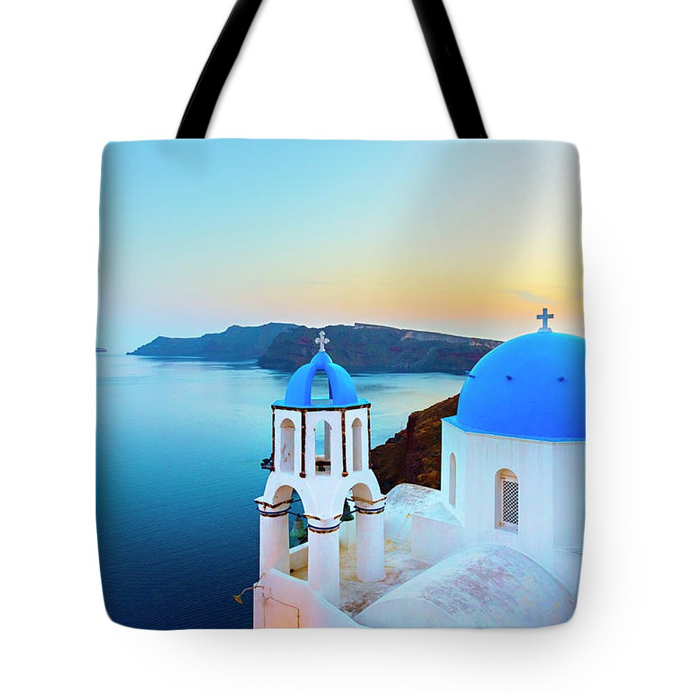Archipelago Tote Bag featuring the photograph Church In Oia On Santorini Island by Spooh