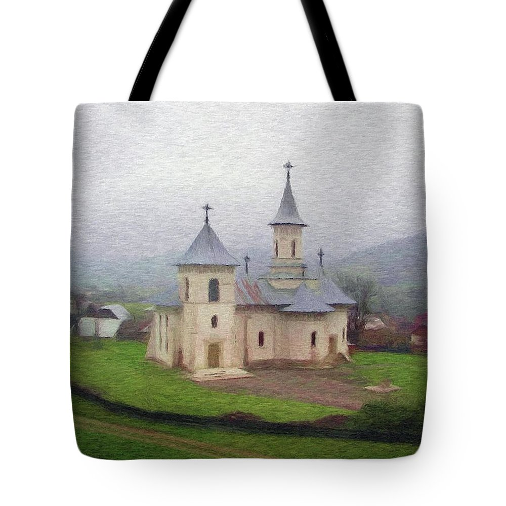 Chapel Tote Bag featuring the painting Church In The Mist by Jeffrey Kolker