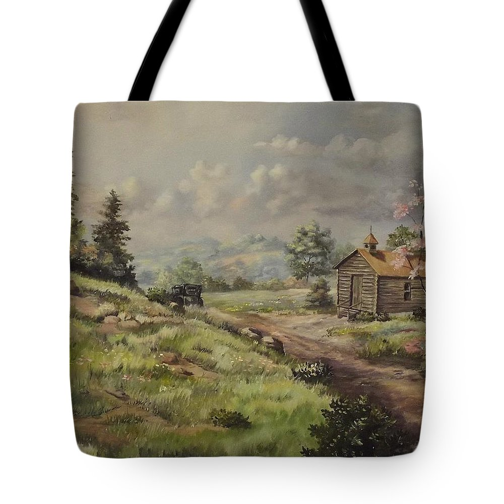 Landscape Tote Bag featuring the painting Church In The Ozarks by Wanda Dansereau