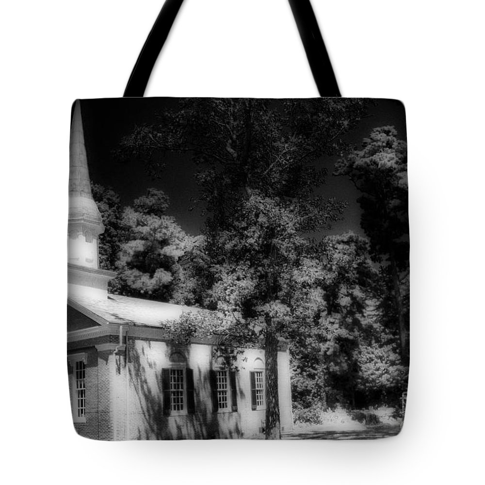 Scenic Tours Tote Bag featuring the photograph Church In The Woods by Skip Willits
