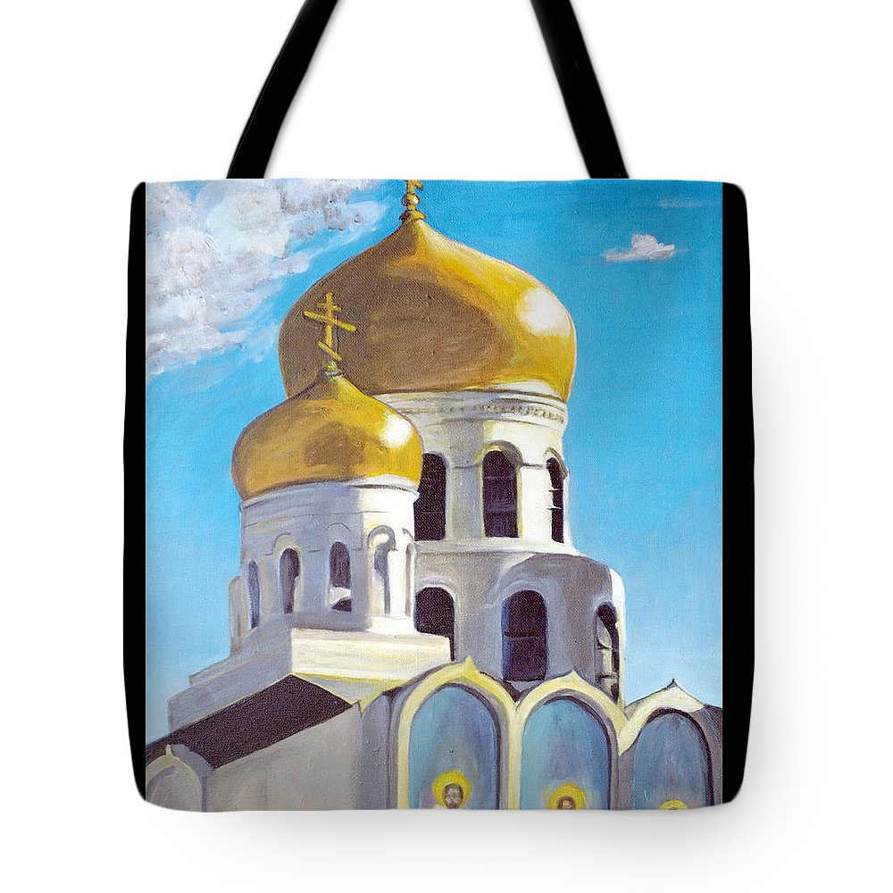 Easter Tote Bag featuring the painting Church by Vera Lysenko