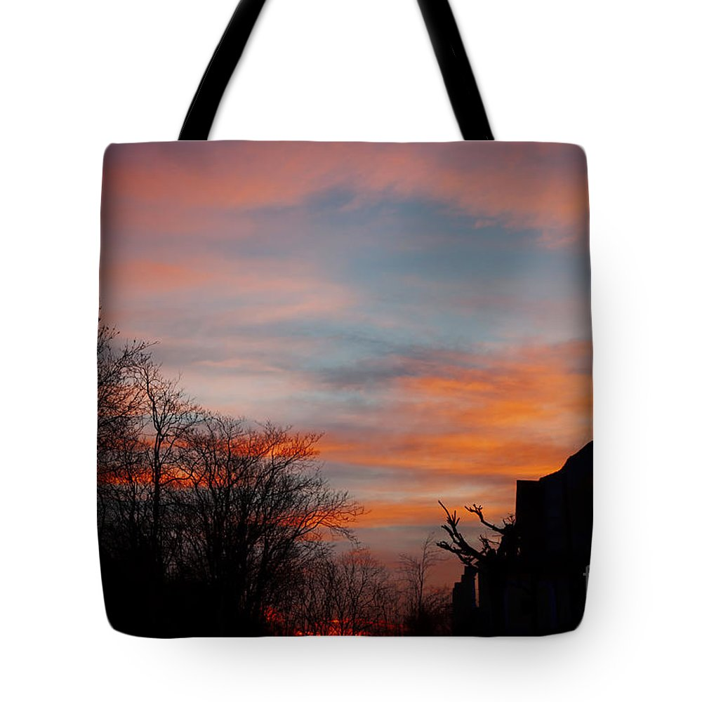 Church Tote Bag featuring the photograph Church With Orange Sky by Mats Silvan