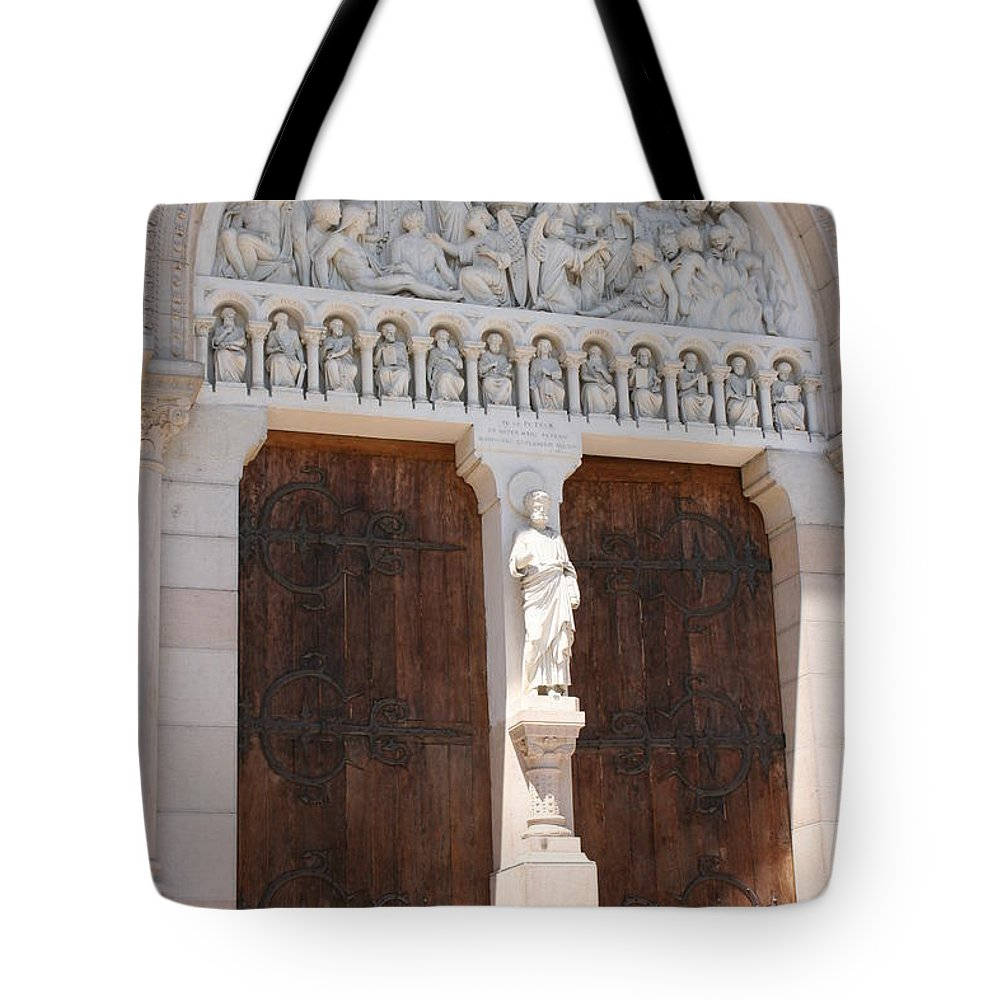 Church Tote Bag featuring the photograph Churchdoor - Saint Peter - Macon by Christiane Schulze Art And Photography
