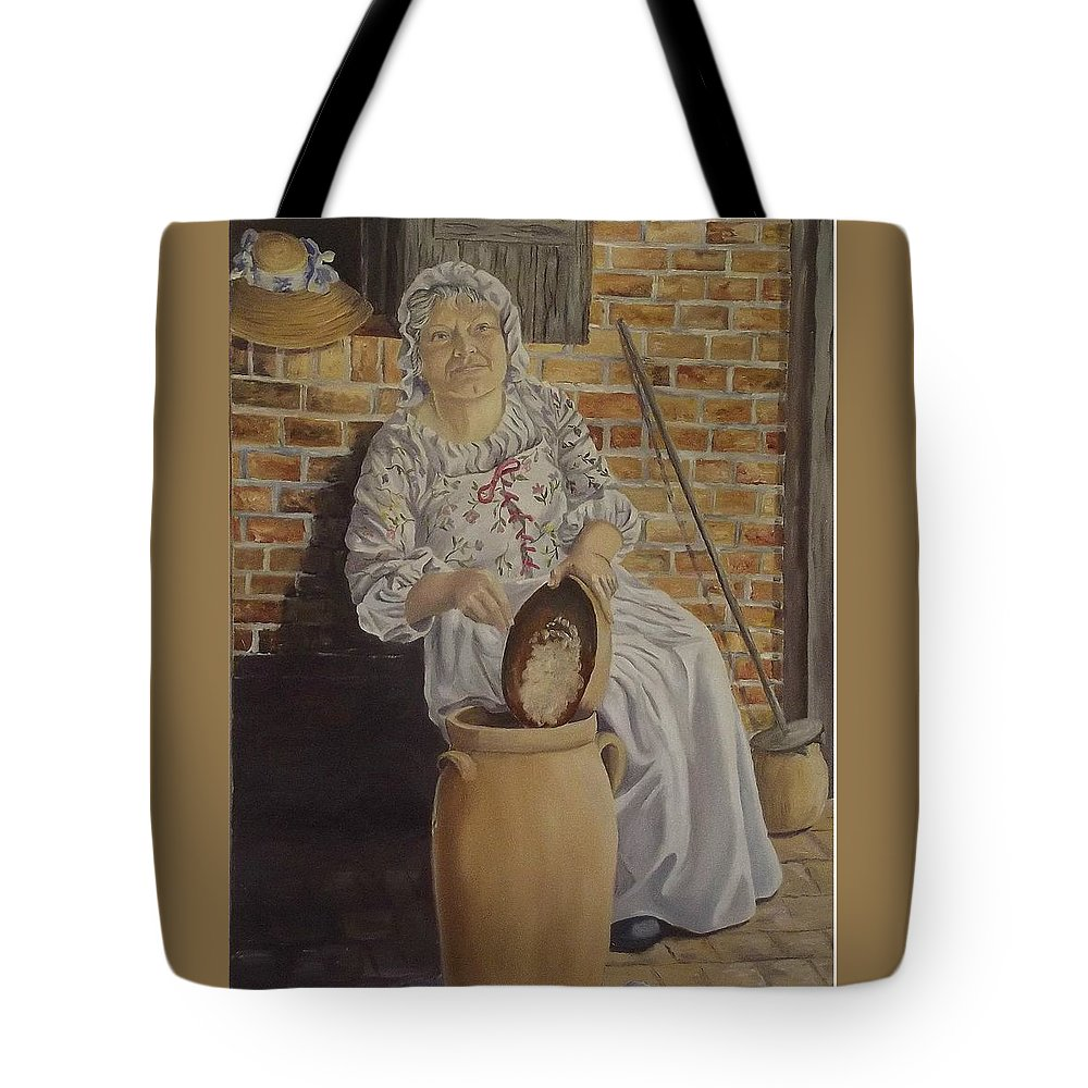 Historic Tote Bag featuring the painting Churning Butter by Wanda Dansereau