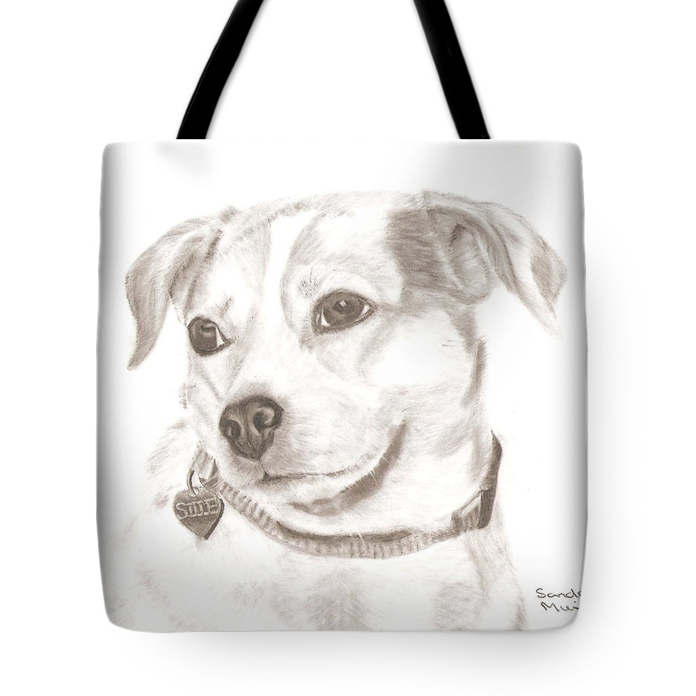 Sandra Muirhead Dog Female Cow Dog Pencil Drawing Cille Realistic Drawing Tote Bag featuring the drawing Cille by Sandra Muirhead