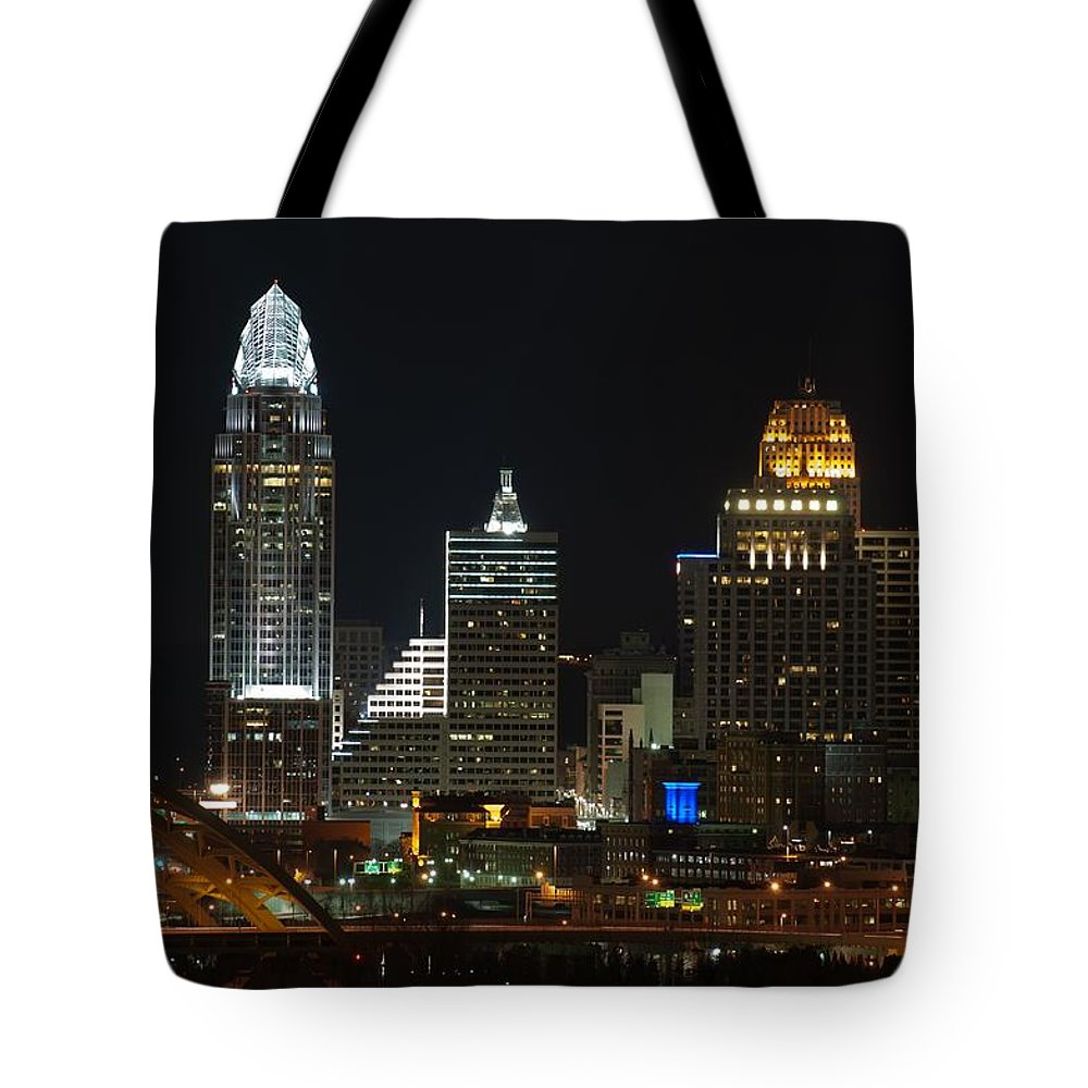 Landscape Tote Bag featuring the photograph Cincinnati Skyline At Night by Constance Sanders