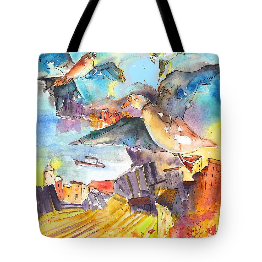 Cinque Terre Tote Bag featuring the painting Cinque Terre 05 by Miki De Goodaboom