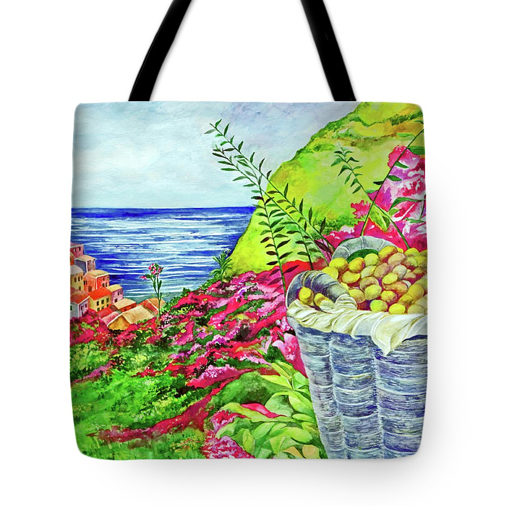 Landscape Tote Bag featuring the painting Cinque Terre by Kandy Cross