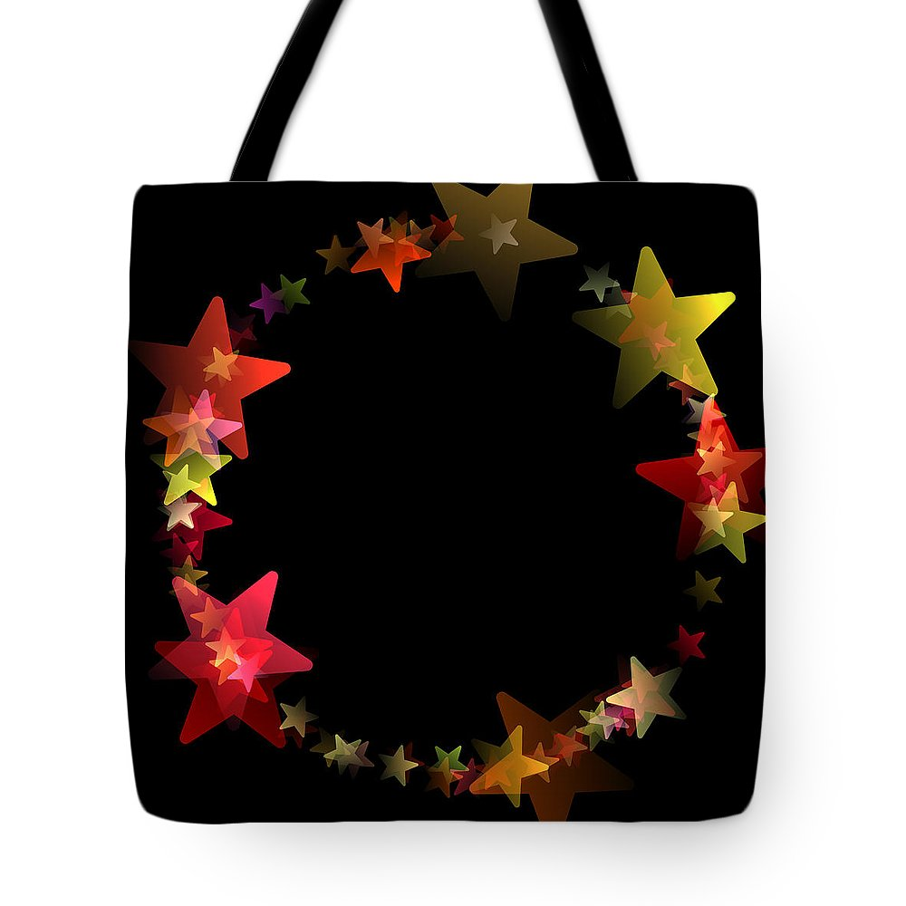 Stars Tote Bag featuring the digital art Circle Of Stars by Daniel Hagerman