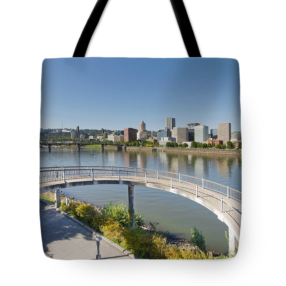 Walkway Tote Bag featuring the photograph Circular Walkway On Portland Eastbank Esplanade by Jit Lim