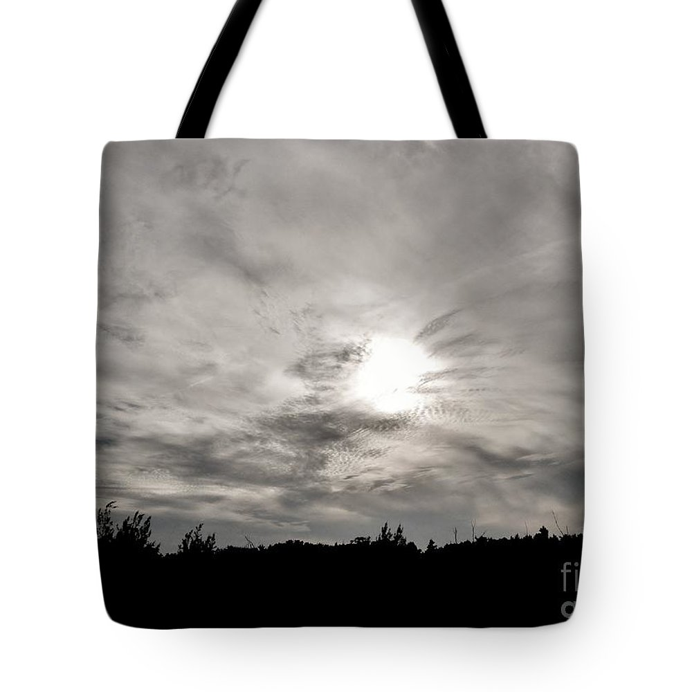 Black And White Tote Bag featuring the photograph Cirrus Sunset by Amar Sheow