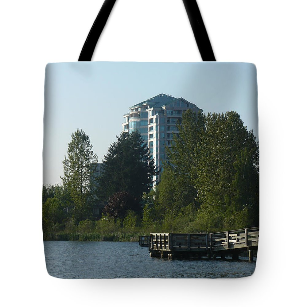 High Rise Tote Bag featuring the photograph City And Country Meet by Nicki Bennett
