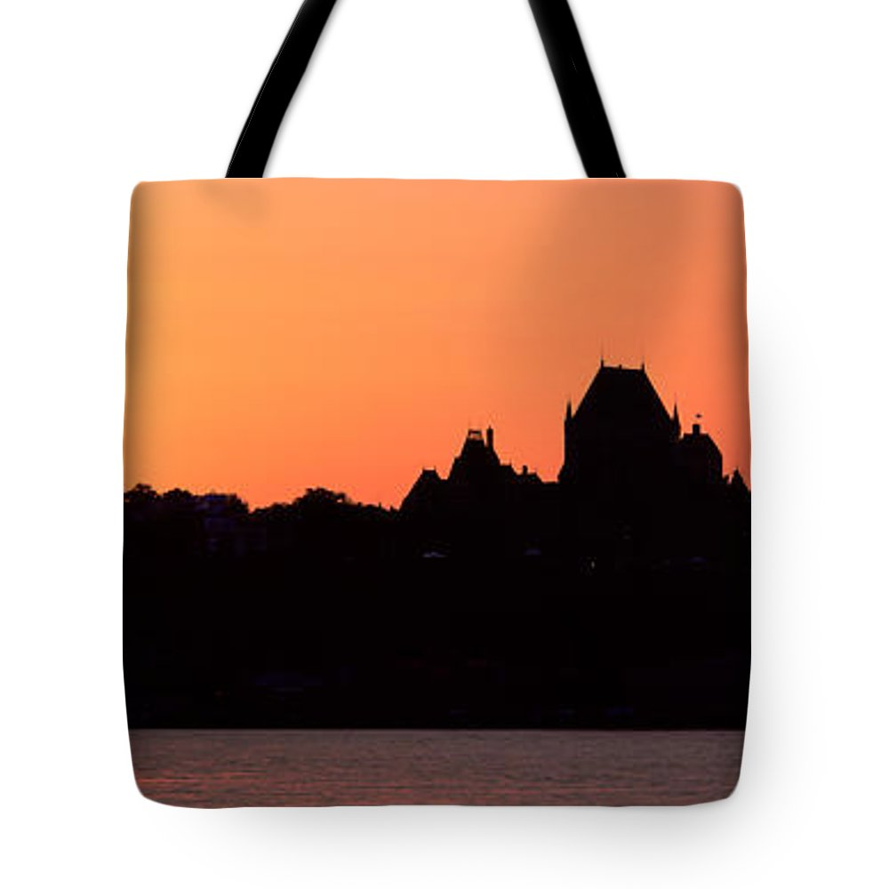 Photography Tote Bag featuring the photograph City At Sunset, Chateau Frontenac by Panoramic Images