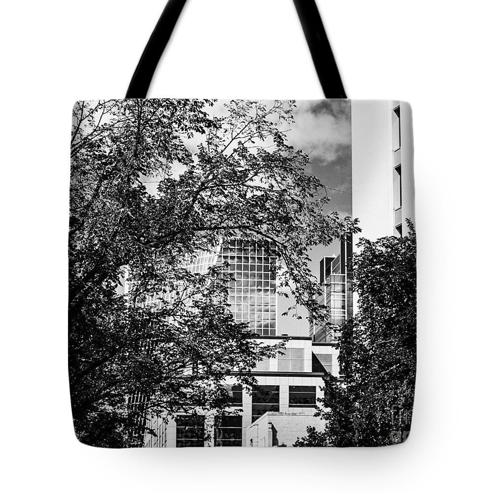 Digital Black And White Tote Bag featuring the photograph City Center-102 by David Fabian