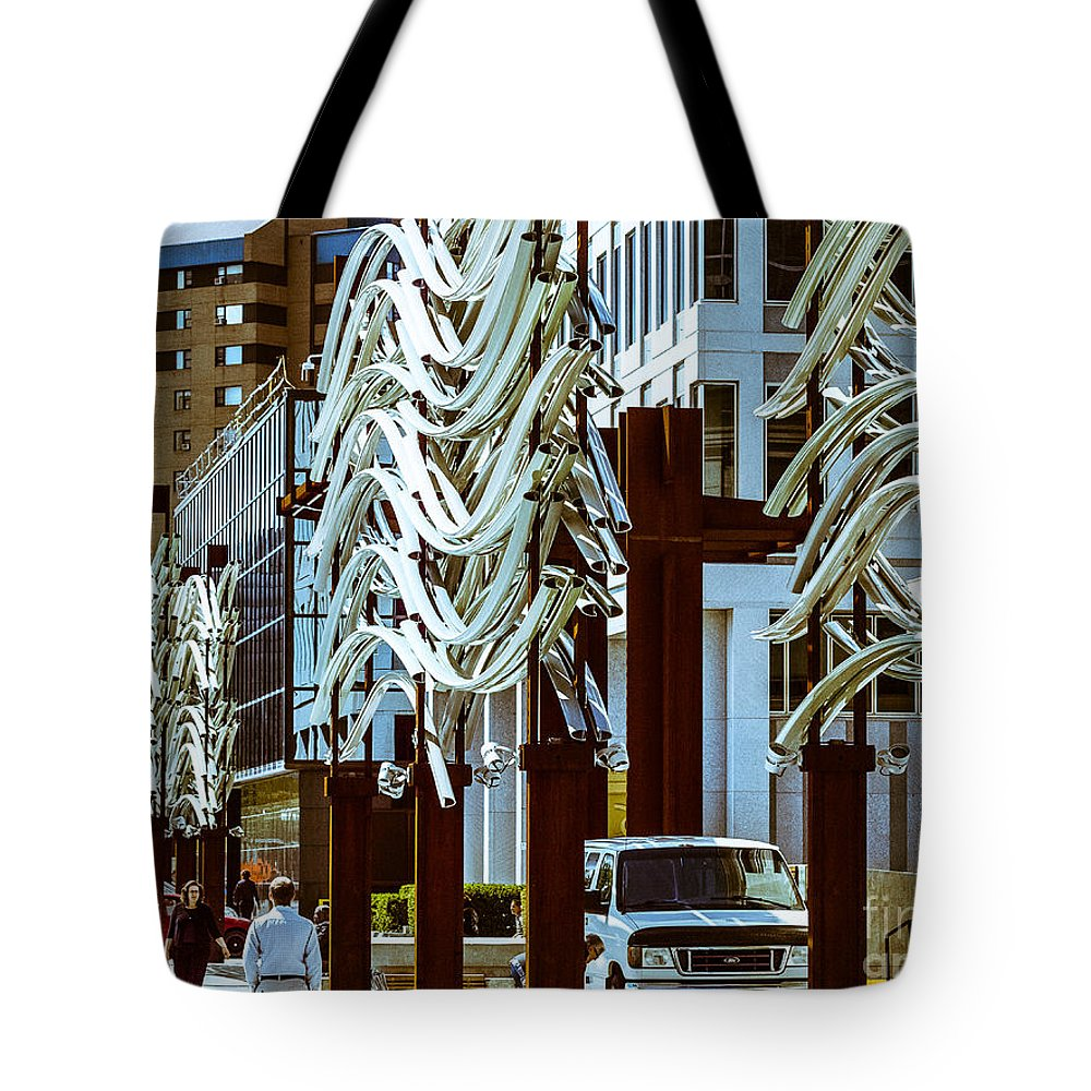 Market Facada Tote Bag featuring the photograph City Center-11 by David Fabian