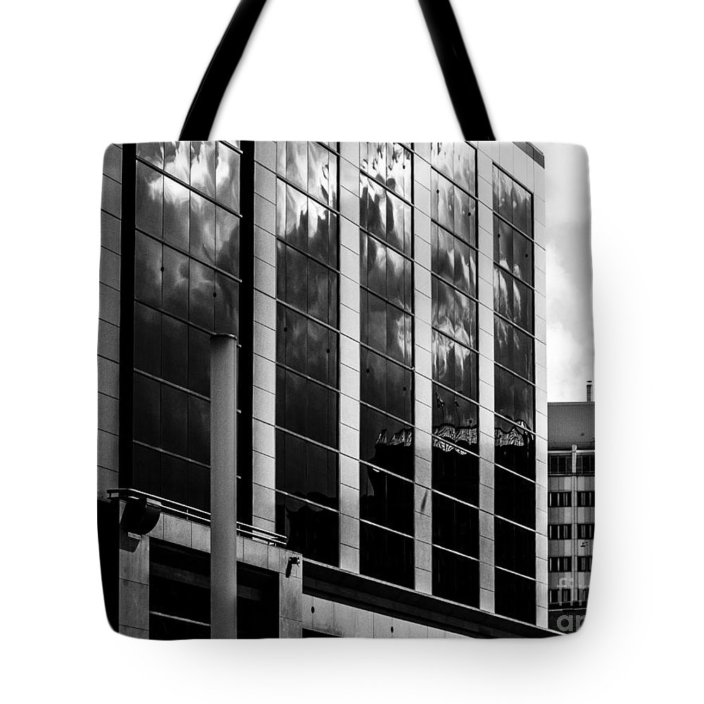 Black And White Tote Bag featuring the photograph City Center-13 by David Fabian