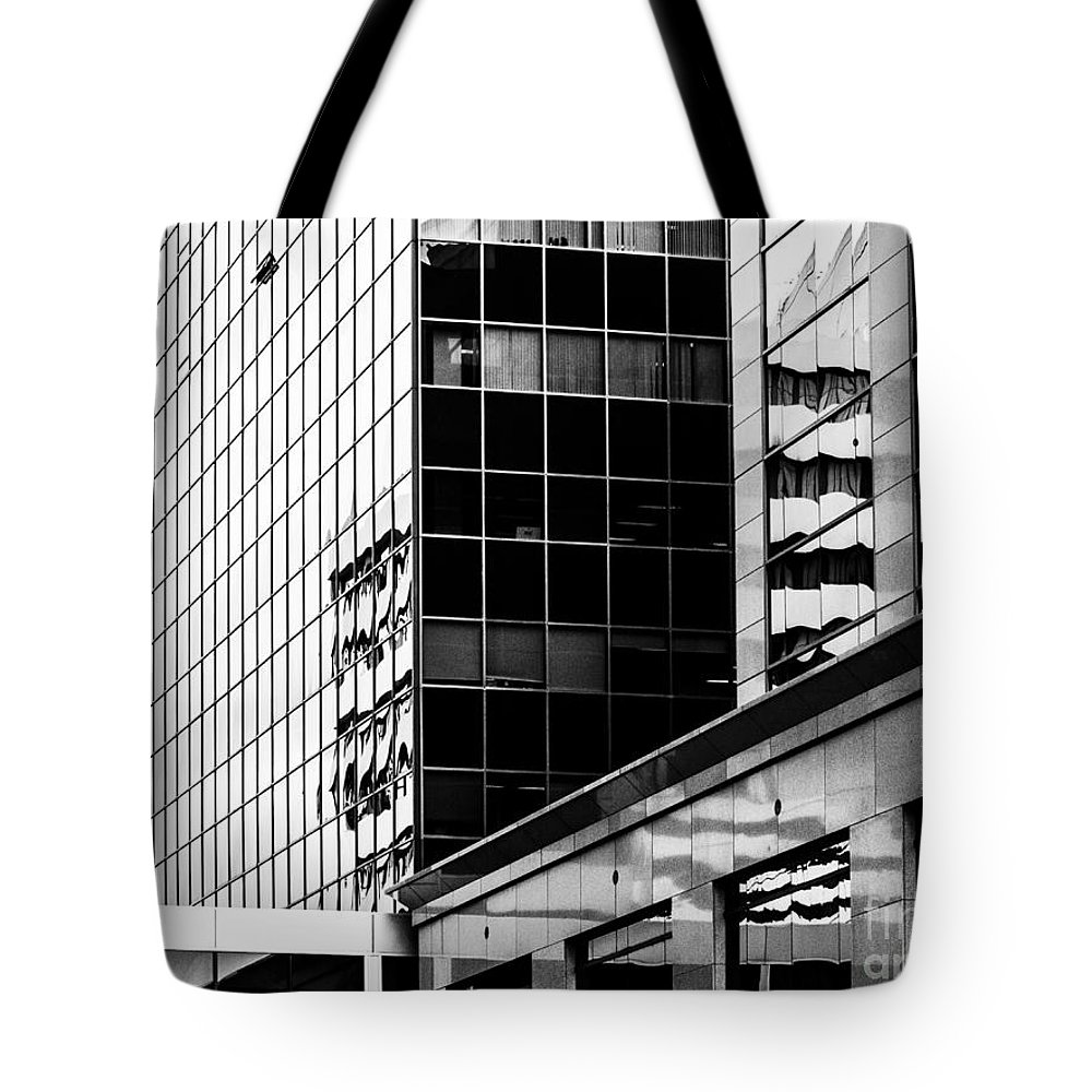 Black And White Tote Bag featuring the photograph City Center-16 by David Fabian