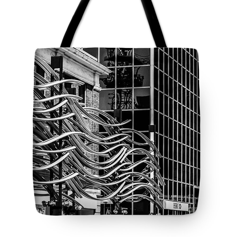 Digital Black And White Tote Bag featuring the photograph City Center-26 by David Fabian