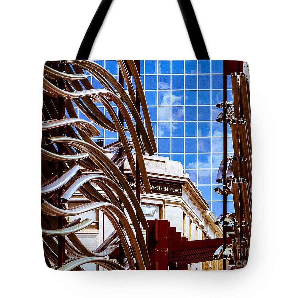 Urban City Scape Tote Bag featuring the photograph City Center-33 by David Fabian