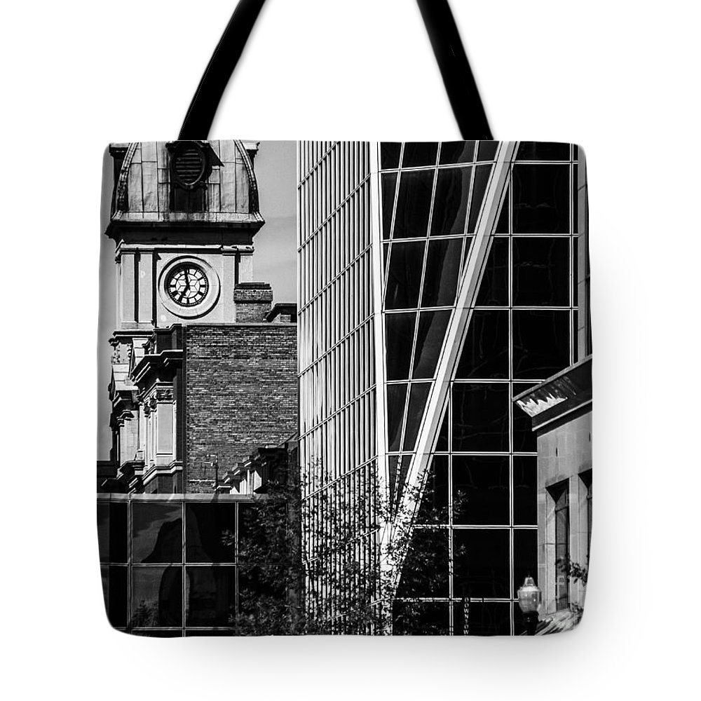 Digital Black And White Tote Bag featuring the photograph City Center-60 by David Fabian