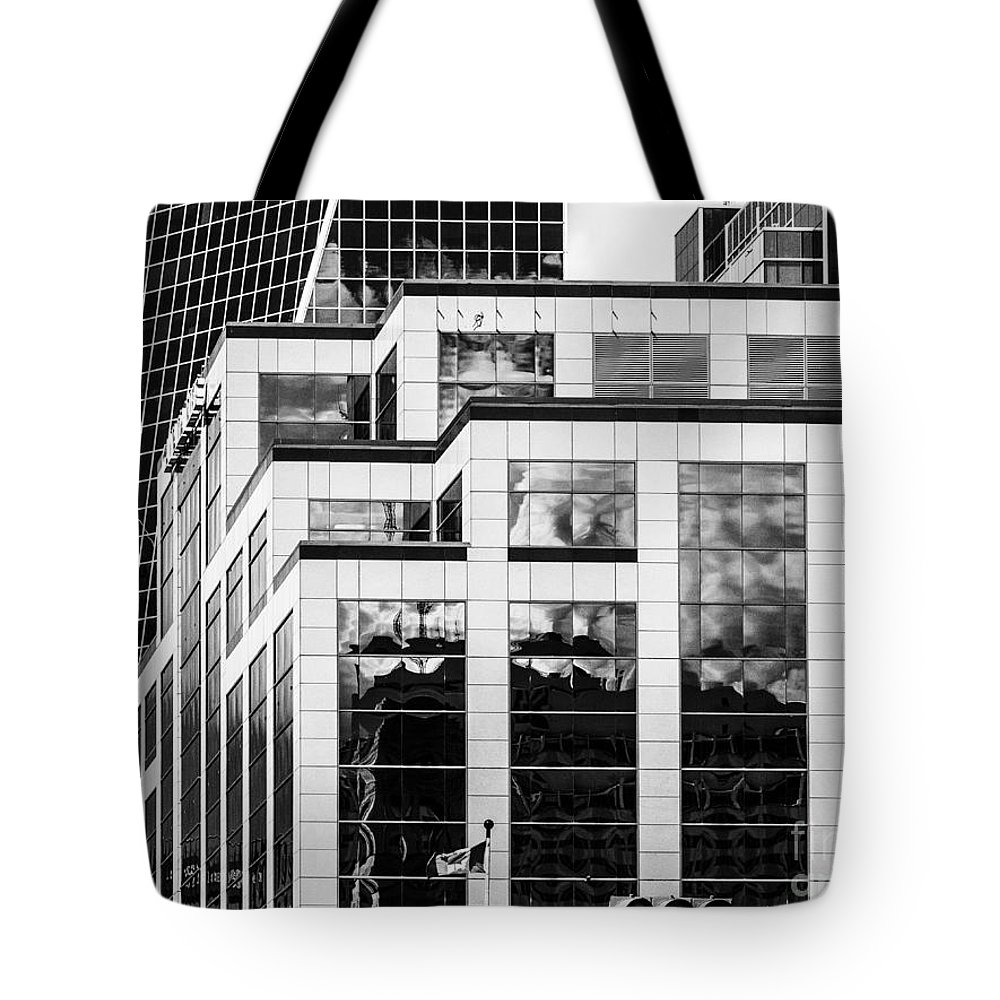 Digital Black And White Tote Bag featuring the photograph City Center-86 by David Fabian