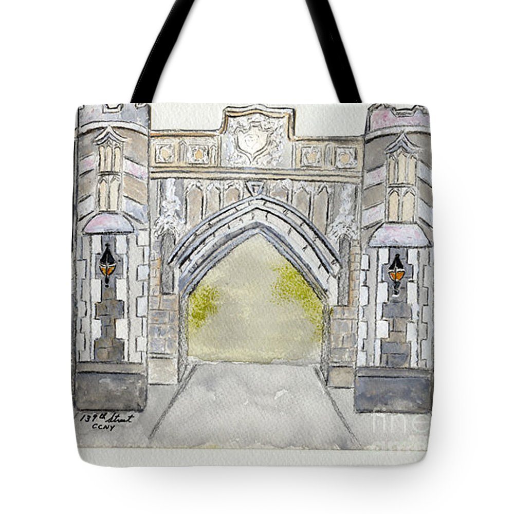Ccny City College Of New York Arch Tote Bag featuring the painting City College Of New York by AFineLyne